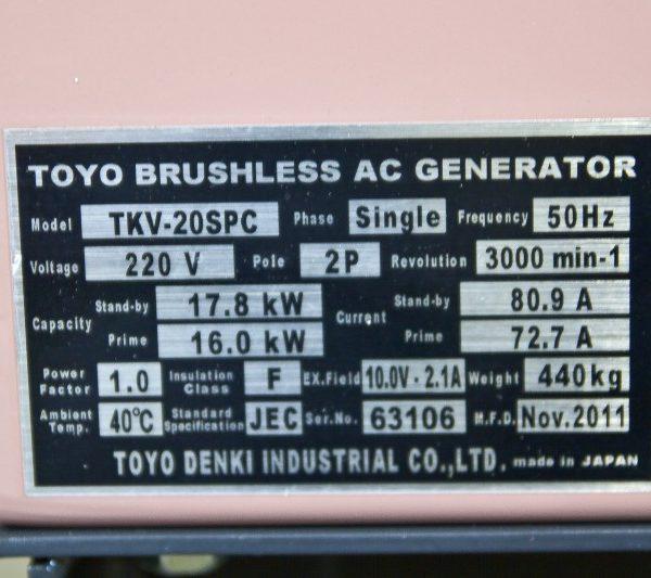 Дизель генератор TOYO TKV-20SPC02