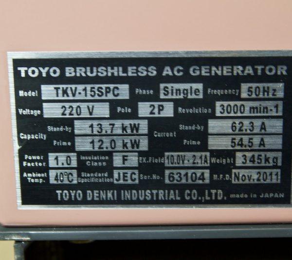Дизель генератор TOYO TKV-20TPC02
