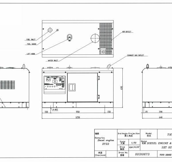 Дизельный генератор TOYO TKV-11SBS03