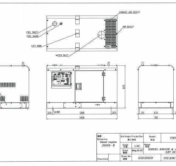 Дизельный генератор TOYO TKV-TKV-20TBS03